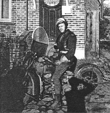 George Jorgenson on a motorcycle