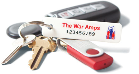 A set of keys with a War Amps key tag attached.